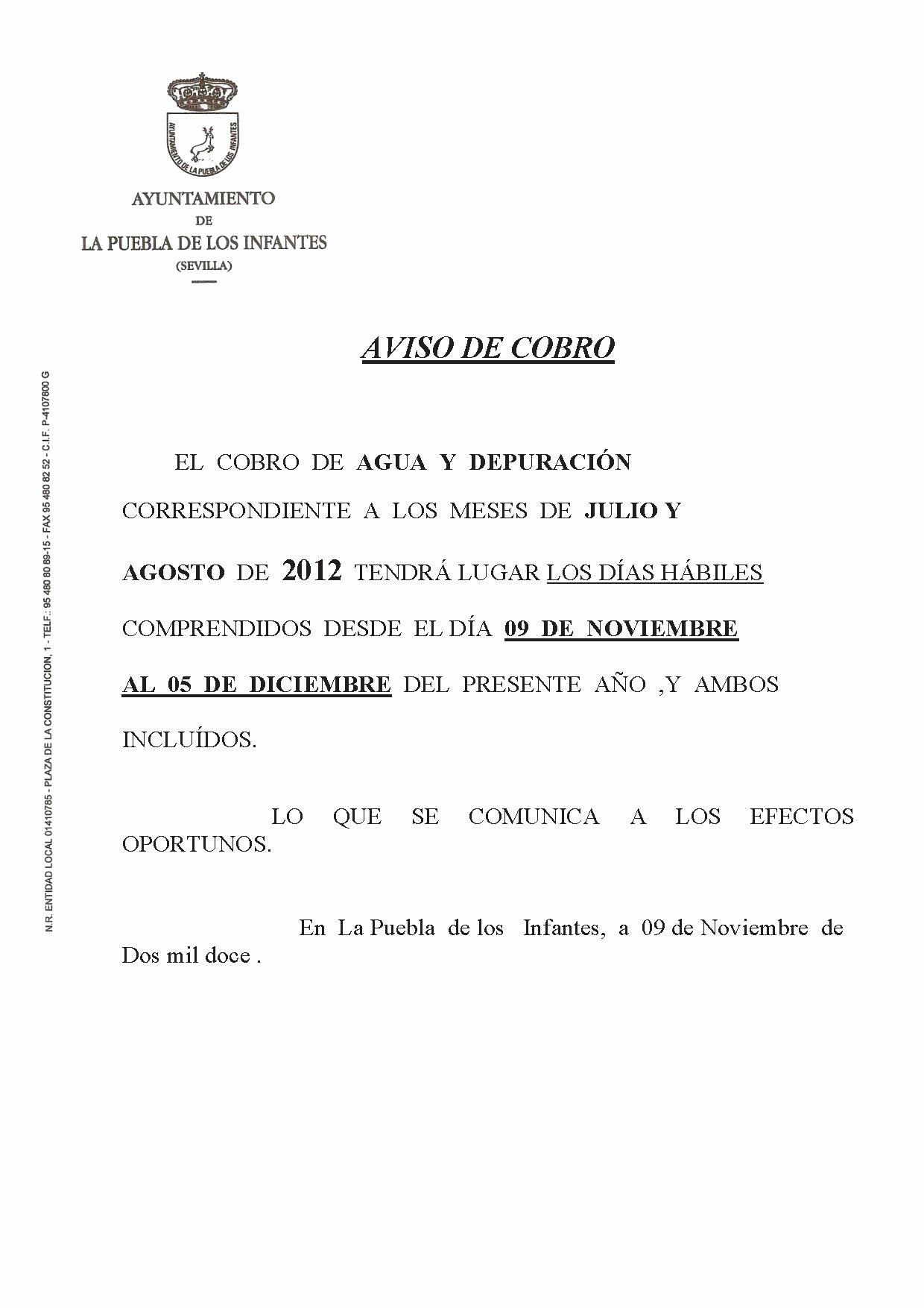 Carta De Cobro De Deuda Lovely Aviso De Cobro Agua Y Depuracion – Puebla De Los Infantes