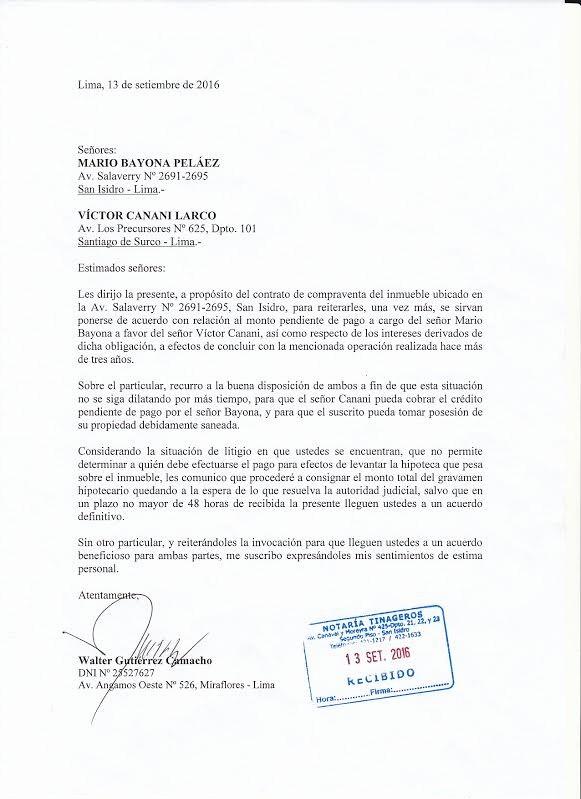 Carta De Cobro De Deuda Lovely Defensor Walter Gutiérrez Envió Carta Notarial Para