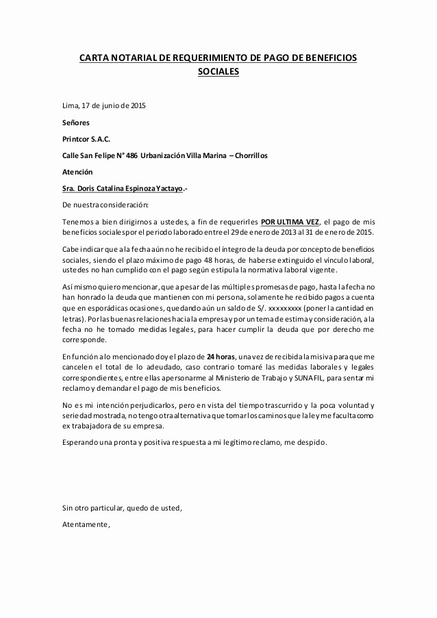 carta notarial beneficios sociales catalina