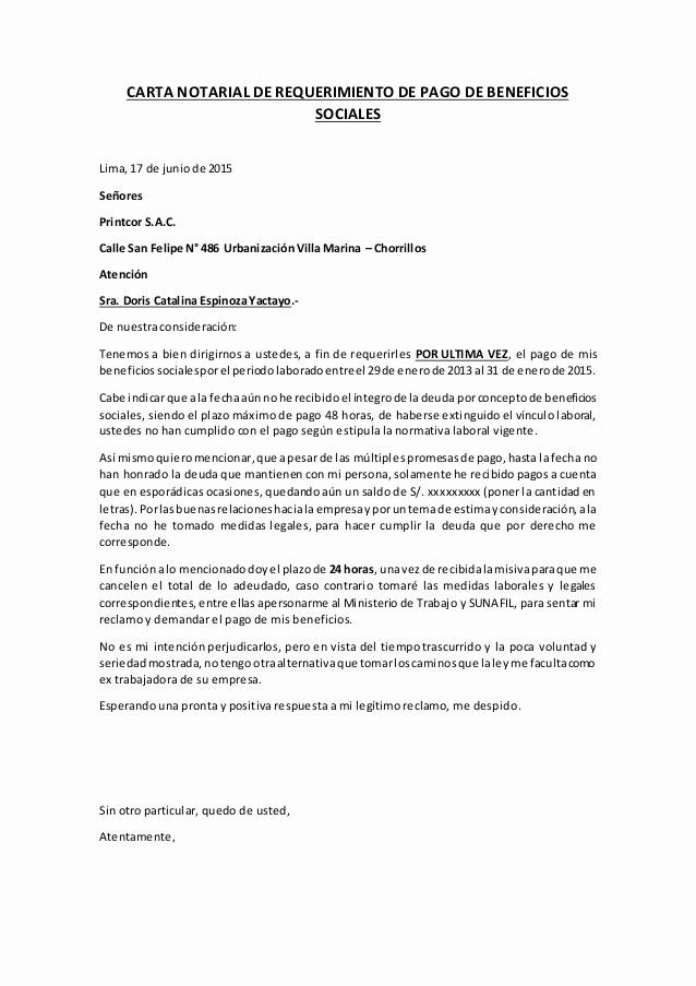 carta notarial beneficios sociales catalina