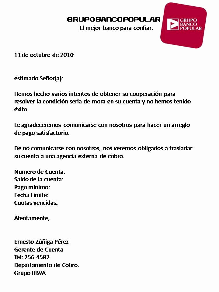 Carta De Cobro De Deuda Luxury Ejemplo De Carta De Cobro