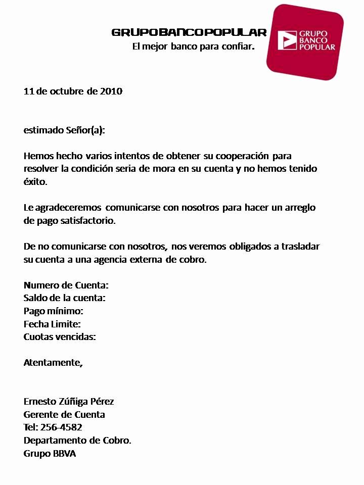Carta De Cobro De Deuda Luxury Ejemplo De Carta De Cobro