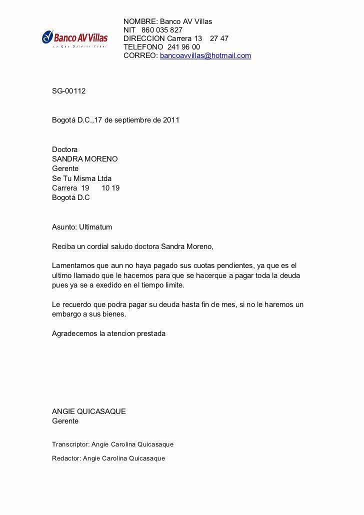 Carta De Cobro De Deuda New Ciclo De Cobro