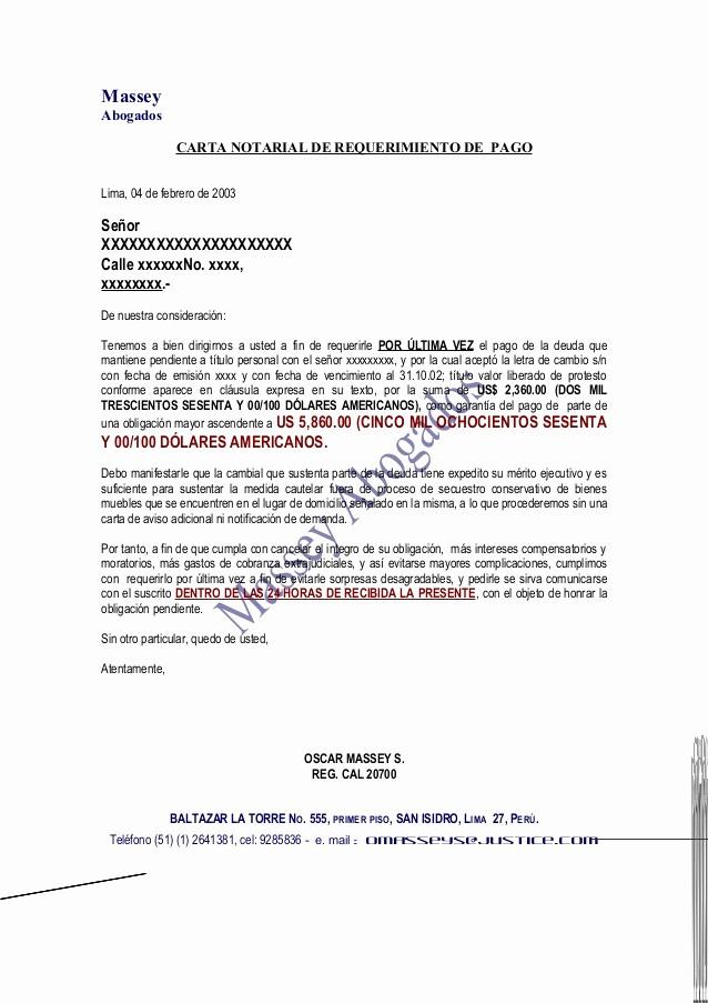 Carta De Cobro De Deuda New Modelo De Carta Notarial De Requerimiento De Pago
