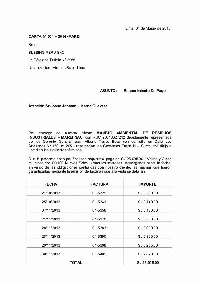 Carta De Cobro De Deuda Unique Carta Notarial Requerimiento Pago