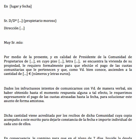 Carta De Cobro De Deuda Unique Carta Para Reclamar A Propietario Moroso El Pago De La