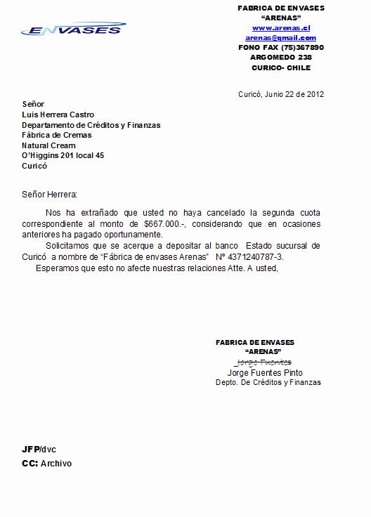 Carta De Cobro De Deuda Unique Natural Cream Correspondencia De Cobranza