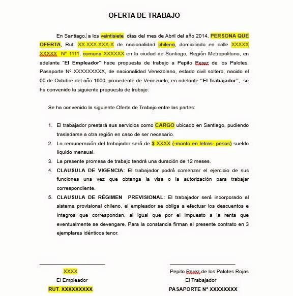 Carta De Oferta De Trabajo Awesome Carta De Erta De Trabajo Visa Temporaria Chile Blog