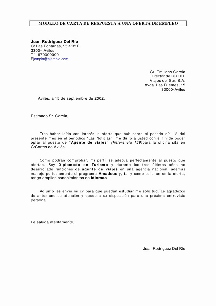 Carta De Oferta De Trabajo Beautiful Carta De Respuesta A Oferta