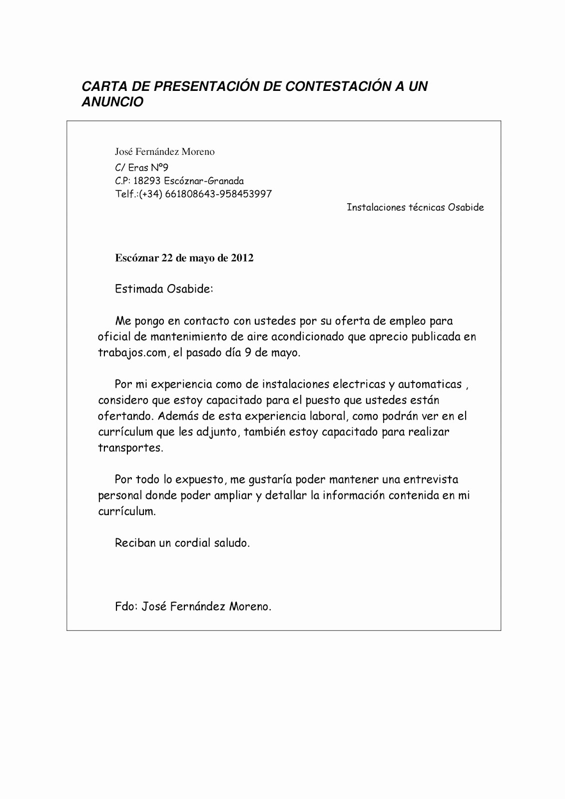 Carta De Oferta De Trabajo Best Of Mi Curriculum 5 Ofertas De Empleo Y Carta De Presentacion