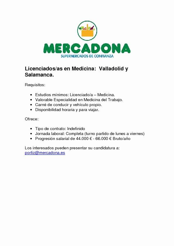 Carta De Oferta De Trabajo Elegant Erta De Empleo En Mercadona Valladolid Salamanca Scmst