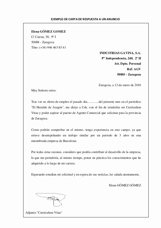 Carta De Oferta De Trabajo Elegant Tipos De Cartas