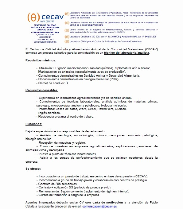 Carta De Oferta De Trabajo Fresh Erta De Trabajo Para Analista Técnico De Laboratorio – Cecav