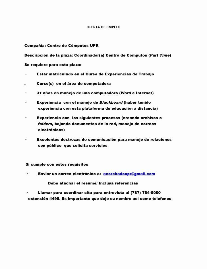 Carta De Oferta De Trabajo Fresh Ertas De Empleo