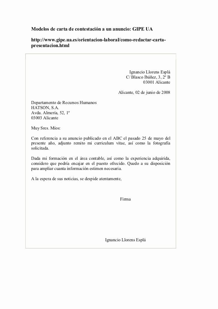 Carta De Oferta De Trabajo Fresh Modelos De Carta De Contestación A Un Anuncio De Trabajo