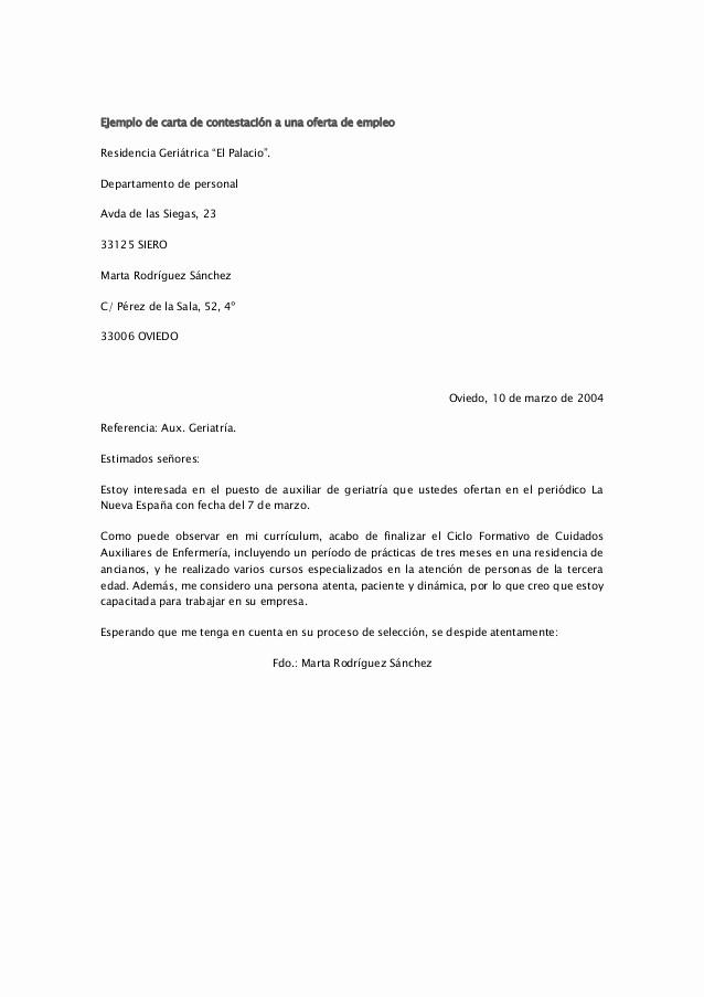 Carta De Oferta De Trabajo Inspirational Ejemplo De Carta De Contestación A Una Oferta De Empleo