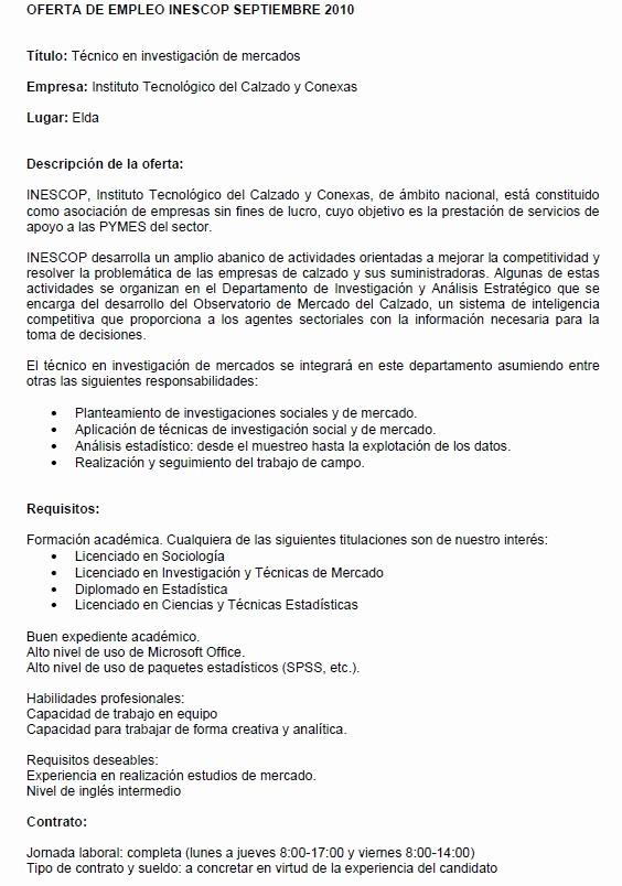 Carta De Oferta De Trabajo Inspirational Estaidea Erta De Empleo Para Estadstico En Inescop En