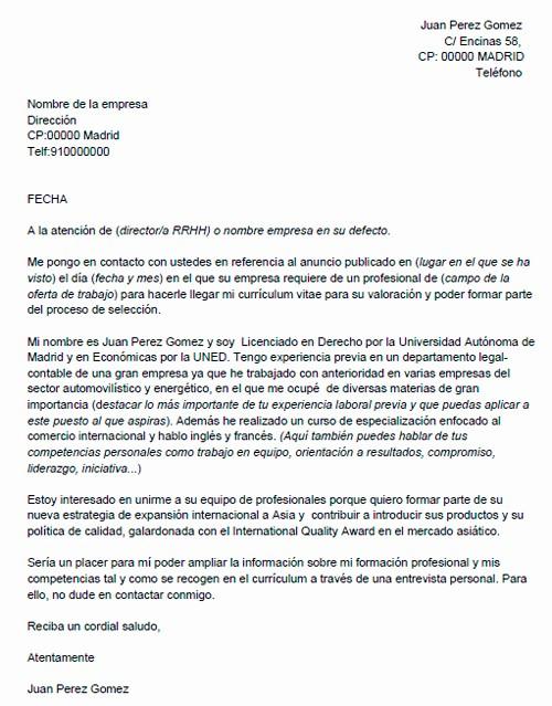 Carta De Oferta De Trabajo Inspirational Modelo De Carta De Presentación Para Una Oferta De Trabajo