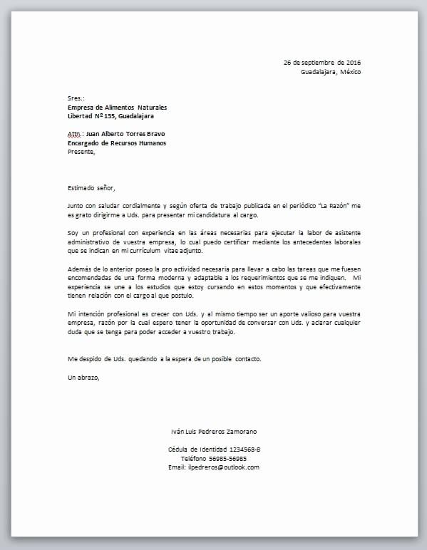 Carta De Oferta De Trabajo Luxury Carta De Presentación Laboral Descarga formato Word