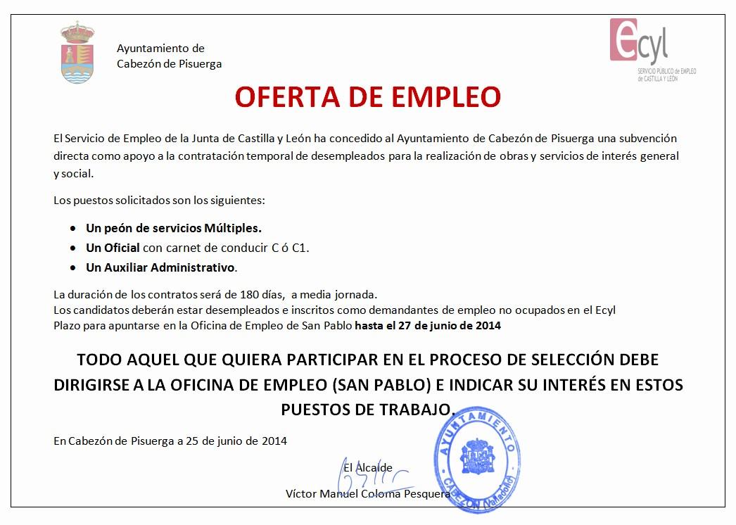 Carta De Oferta De Trabajo Luxury Empleo