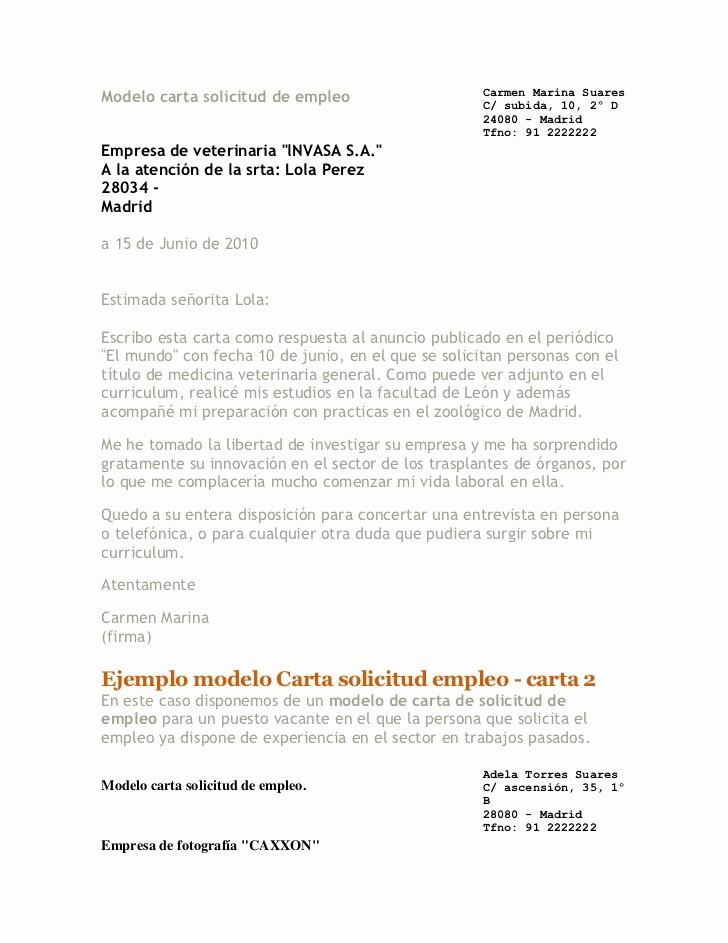 Carta De Oferta De Trabajo Luxury Modelo Carta solicitud De Empleo