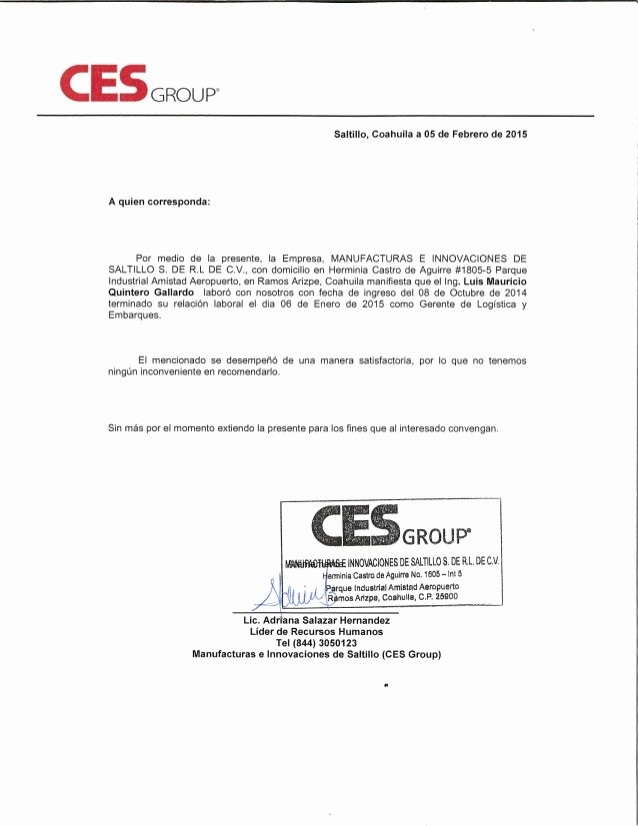 Carta De Recomendacion Laboral Pdf Best Of Carta De Re Endacion Ces Group