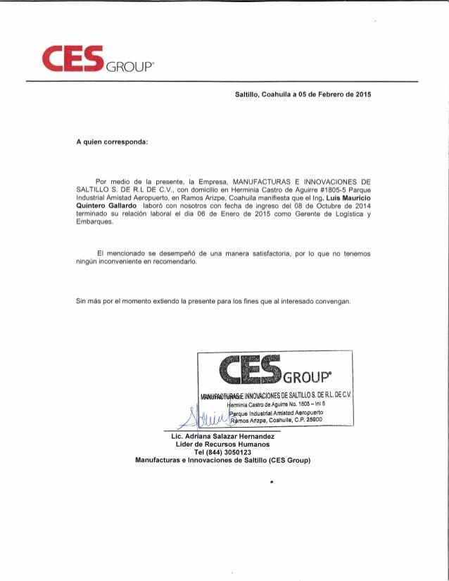 Carta De Recomendacion Laboral Pdf Best Of Carta De Re Endacion Ces Group