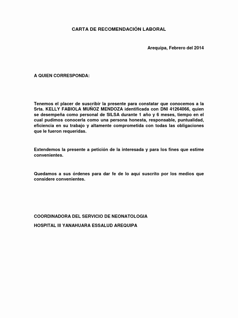Carta De Recomendacion Laboral Pdf Best Of Carta De Re EndaciÓn Laboral