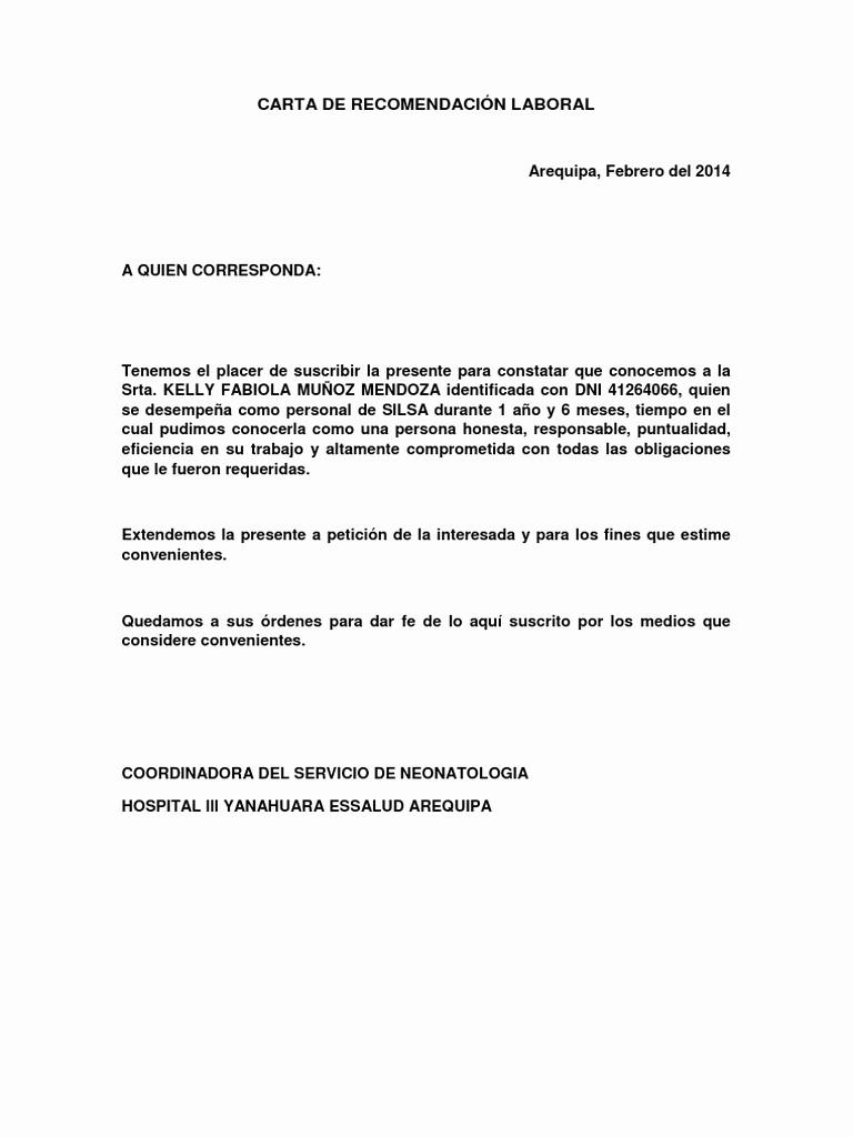 Carta De Recomendacion Laboral Pdf Best Of Carta De Re EndaciÓn Laboral