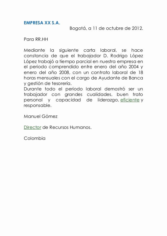 Carta De Recomendacion Laboral Pdf Elegant Carta Laboral De Cartas Modelo