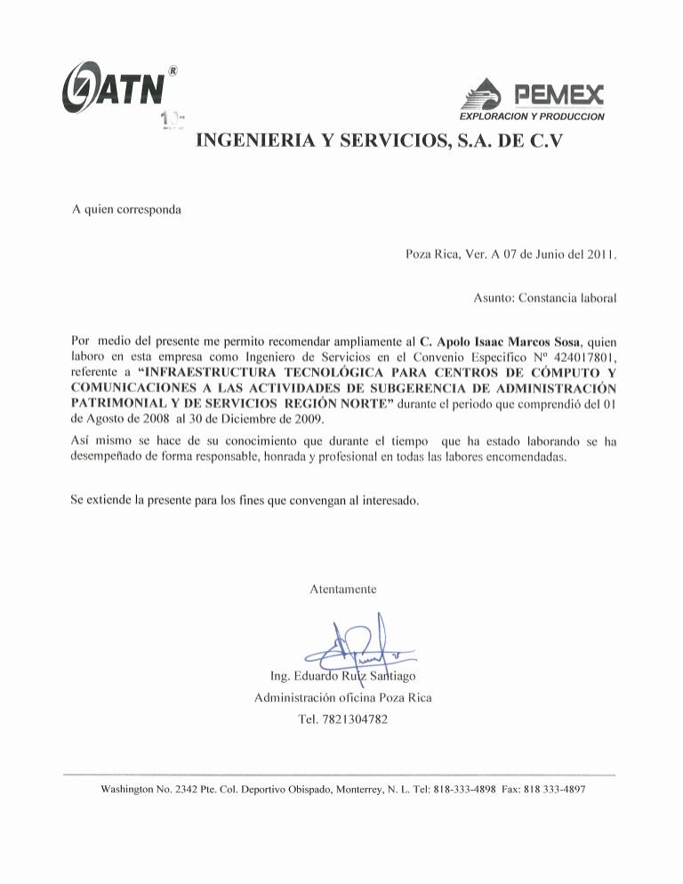 Carta De Recomendacion Laboral Pdf Elegant Carta Re Endacion atn
