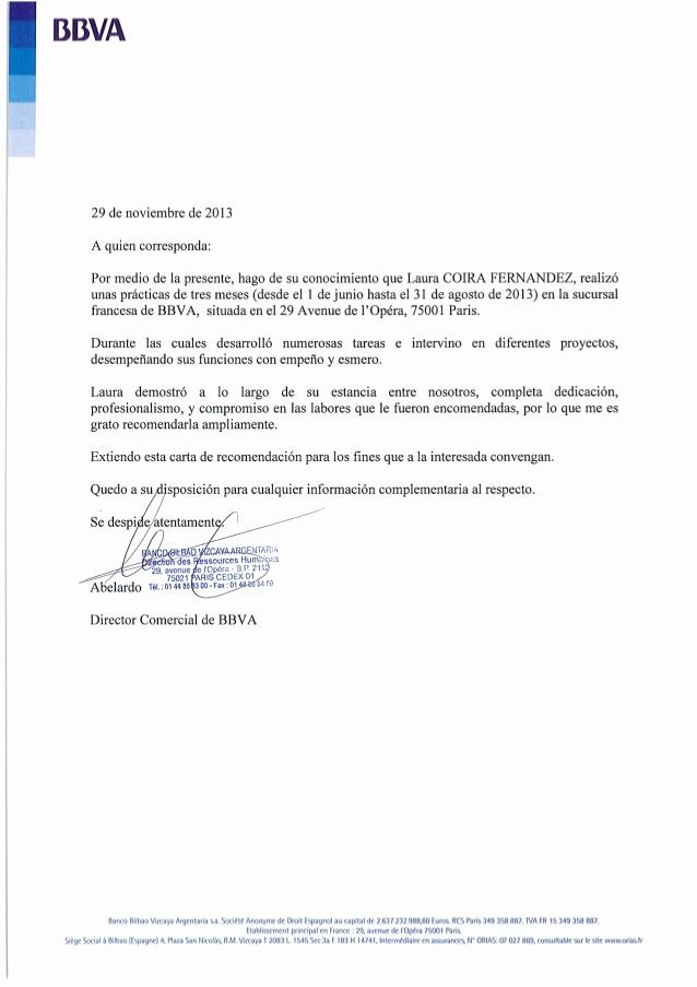 Carta De Recomendacion Laboral Pdf Luxury Carta Re Endación Bbva