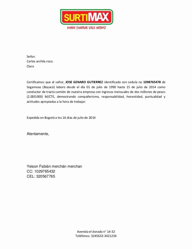 Carta De Recomendacion Laboral Pdf Luxury Certificacion Laboral