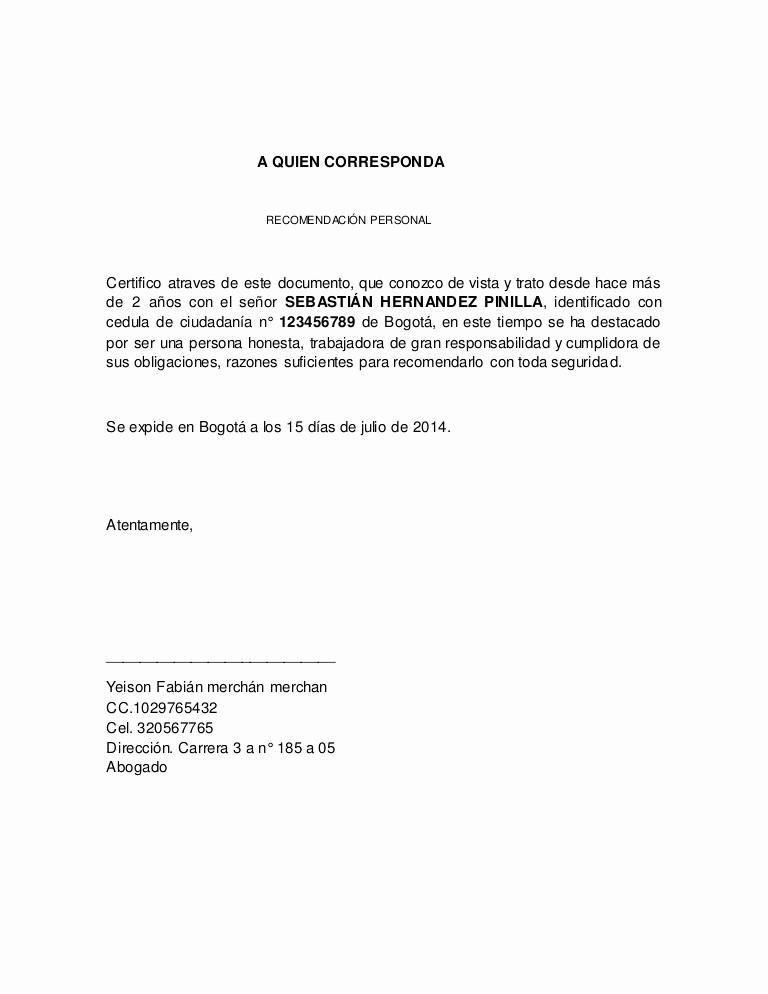 Carta De Recomendacion Laboral Pdf Luxury Referencia Personal