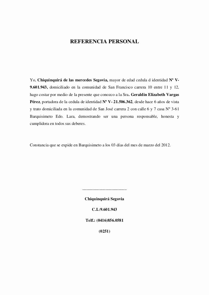 Carta De Recomendacion Laboral Pdf Unique Referencia Personal