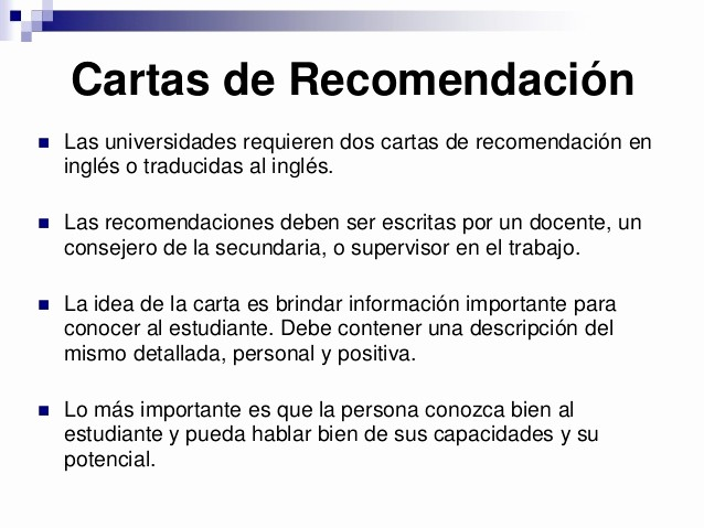 Carta De Recomendacion Para Estudiante Beautiful College En Usa