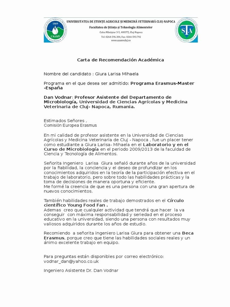 Carta De Recomendacion Para Estudiante Fresh Carta De Re Endación Académica