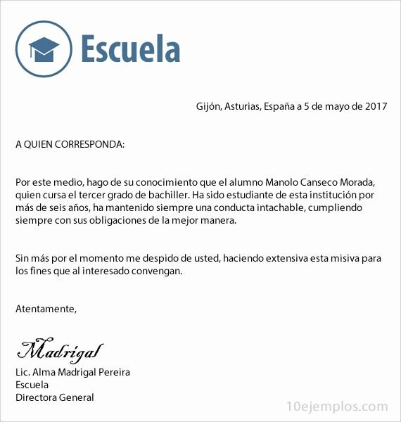 Carta De Recomendacion Para Estudiante Inspirational Carta De Re Endacion Para Un Estudiante Evolist