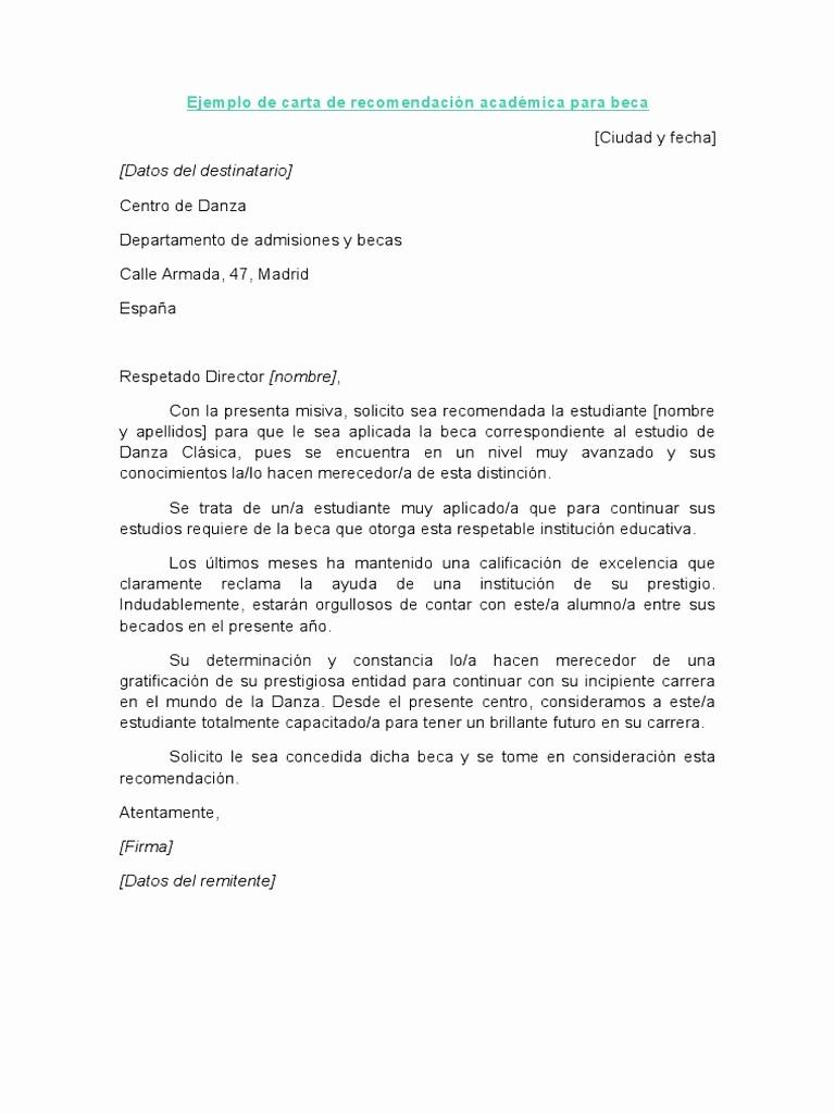 Carta De Recomendacion Para Estudiante Luxury Ejemplo De Carta De Re Endación Académica Para Beca