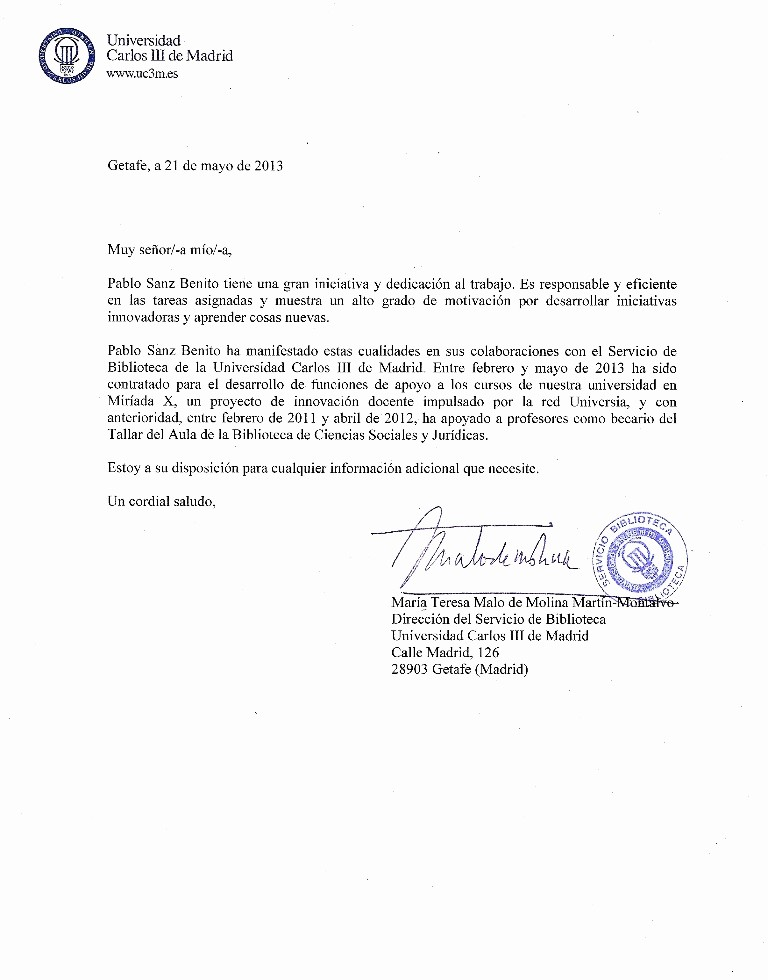 Carta De Recomendacion Para Estudiante Unique Carta De Re Endación Universidad Carlos Iii De Madrid