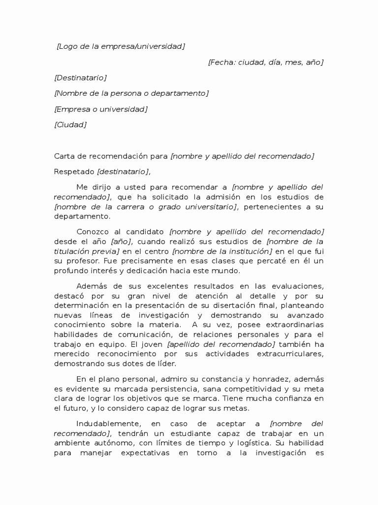 Carta De Recomendacion Para Estudiante Unique Ejemplo De Carta De Re Endación Académica Para Universidad