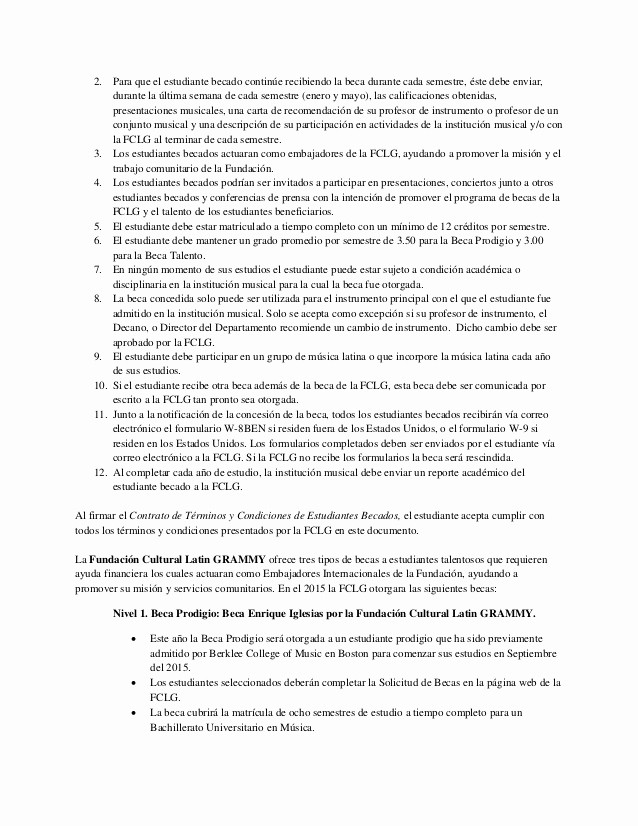 Carta De Recomendacion Para Estudiantes Fresh Fundacion Latin Grammy solicitud De Becas Carta De Consulta