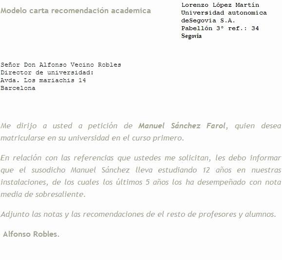 ejemplo de carta de re endacion academica para universidad