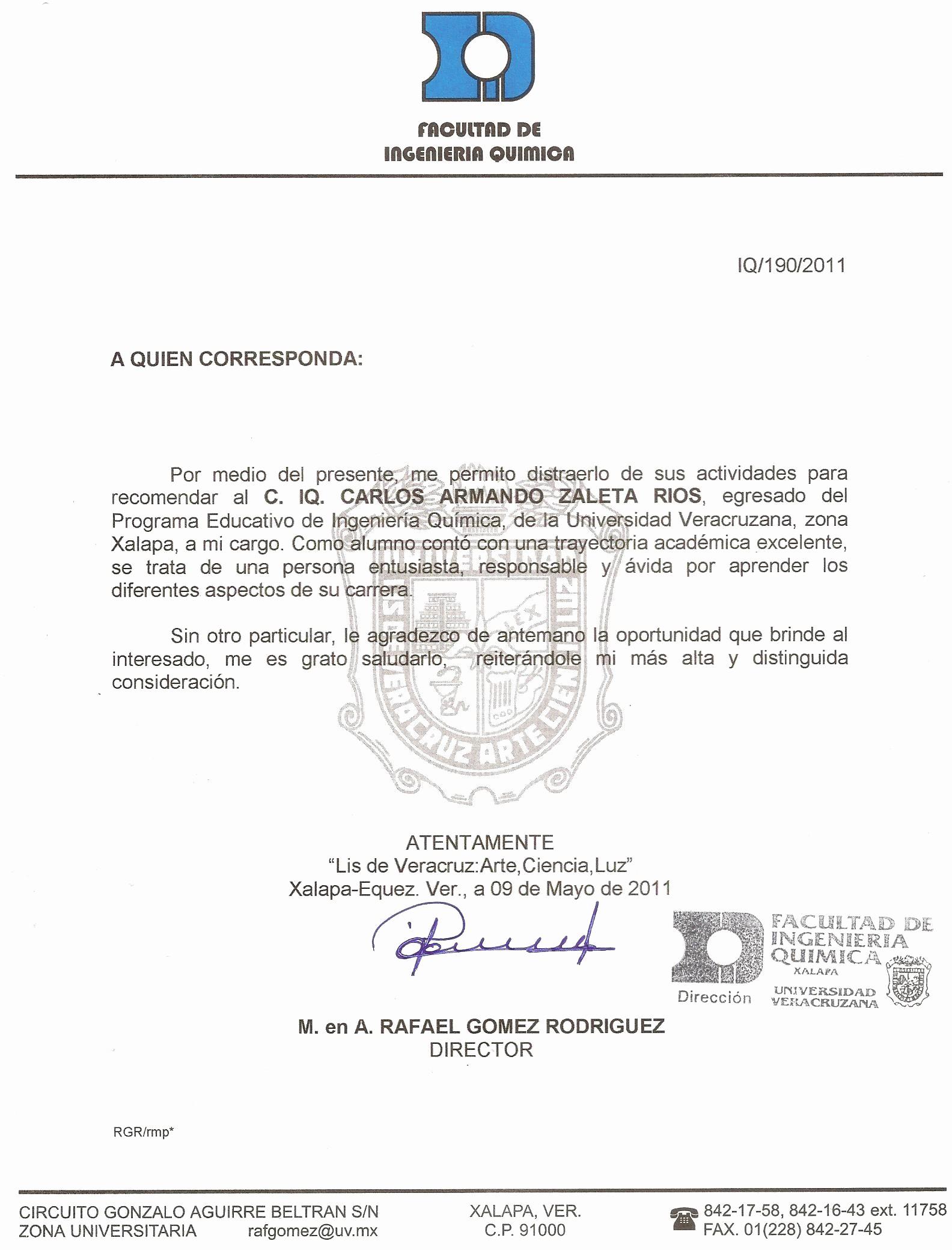 Carta De Recomendacion Para Estudiantes Lovely Ing Carlos Zaleta