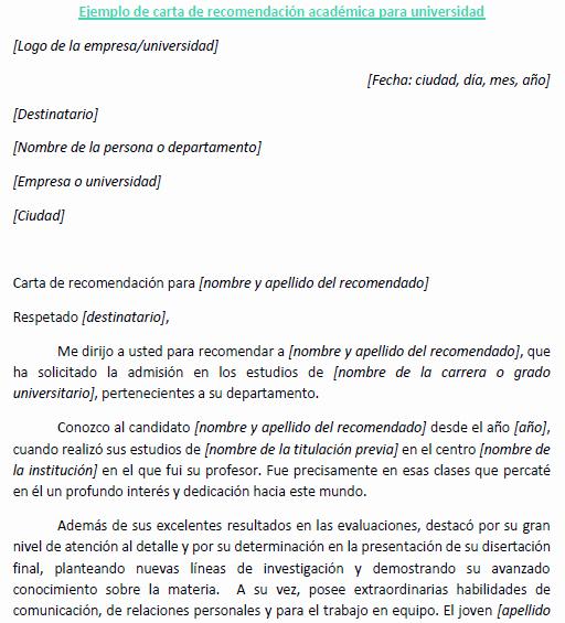 Carta De Recomendacion Para Estudiantes Luxury Carta Re Endacion Academica Universidad