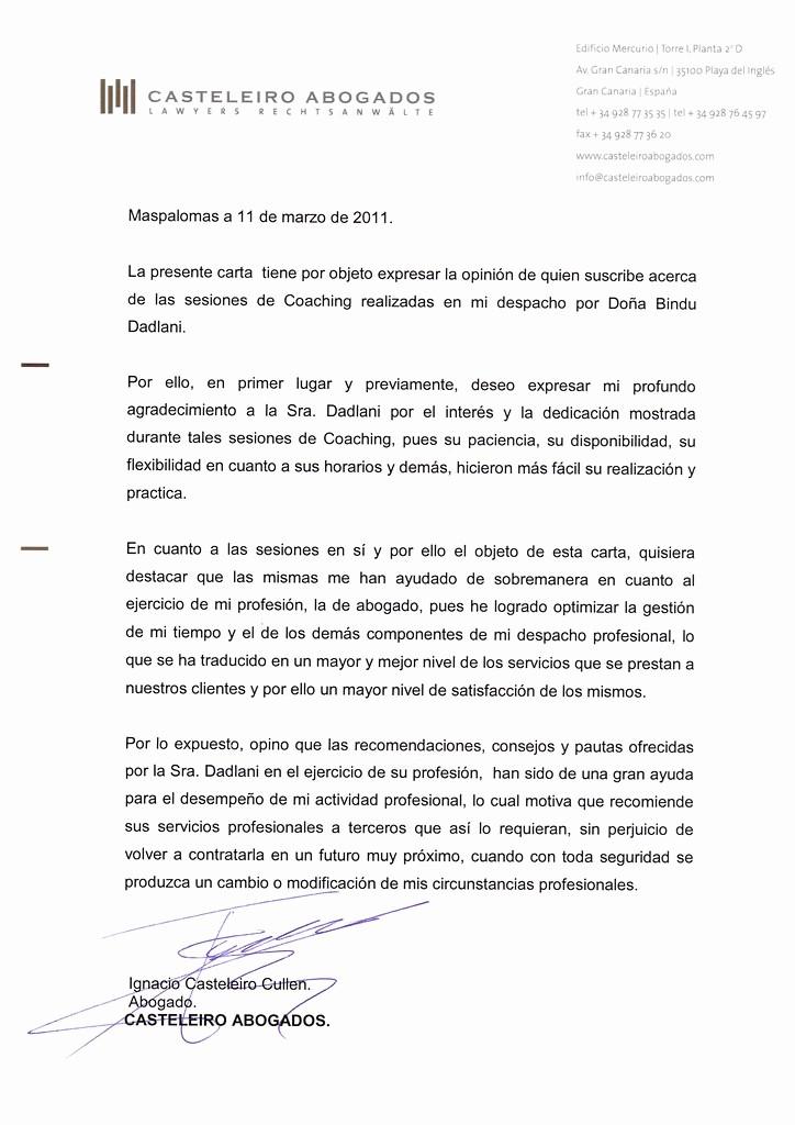 Carta De Recomendacion Para Estudiantes Luxury Carta Re Endación Casteleiro Abogados