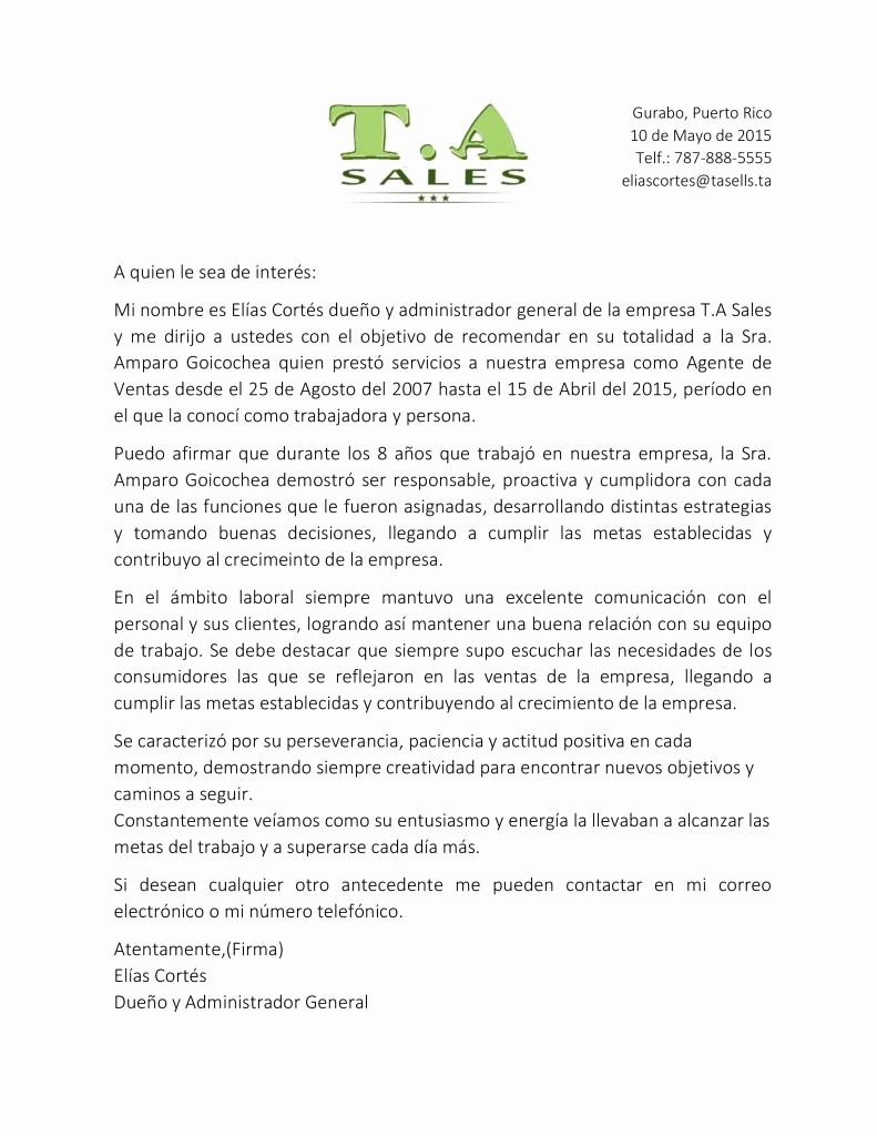 Carta De Recomendacion Para Trabajo Awesome Carta De Re Endación Para Agente De Ventas O Ercial