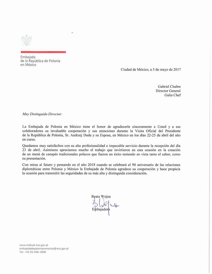 Carta De Recomendacion Para Trabajo Awesome Carta Embajada Polonia2017 Galia Chef