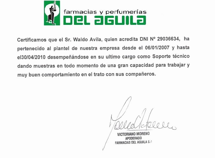 Carta De Recomendacion Para Trabajo Awesome Perfil Laboral Avila Waldo Mayo 2010