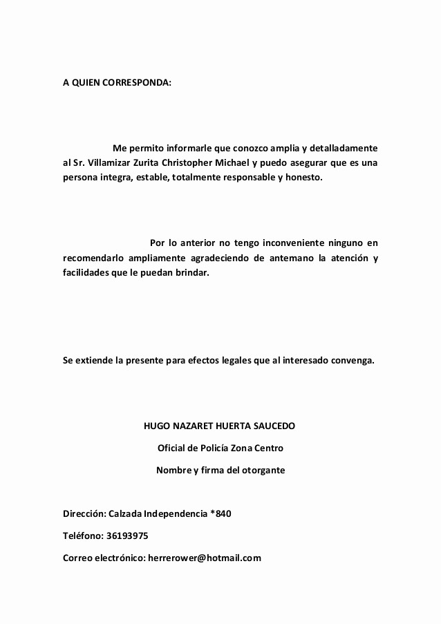 Carta De Recomendacion Para Trabajo Best Of Carta De Re Endacion 2